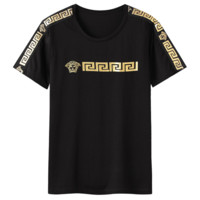 Versace 2019 new hot stamping men's round neck short-sleeved T-shirt Black