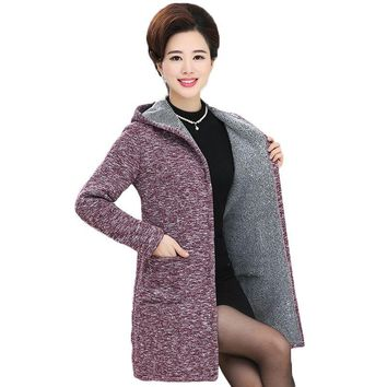 Women Long Hooded Sweater 2018 Autumn Winter Solid Color Long Sleeve Thicken Knitted Cardigan Female Sweater Coat Plus Big Size