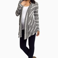 White-Charcoal-Striped-Knit-Maternity-Cardigan