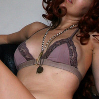 triangle bra in viscose of bamboo and lace - made to order - BON BON lingerie range