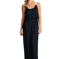 Solid Black Maxi with Crochet Detail