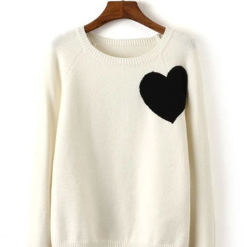 White Heart Knitted Sweater