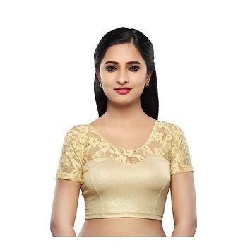 Designer Indian Gold Shimmer Non-Padded Stretchable Half Sleeves Saree Blouse Crop Top (A-23)