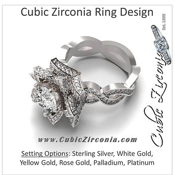 Cubic Zirconia Engagement Ring- The Teather (2.68 Carat Flower-Inspired Halo with Infinity Pave Band)