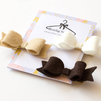 Brown hair clips, baby hair bows, felt toddler barrettes, white accessories, girl hairband clips,