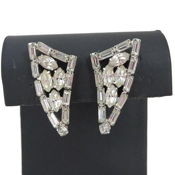 Vendome Rhinestone Earrings, Vintage Silver Tone Triangle Clip-on Earrings, Bridal Jewelry, Formal Wear