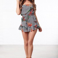 Embrace Yourself Strapless Romper (Floral Stripe)