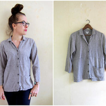 Minimal Linen Blouse Boxy Button Up Shirt Casual 90s Long Sleeve Rayon Top Modern Easy Basic Shirt Grey Striped Top Womens Small
