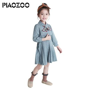 Vestidos verano dresses bow cute clothes fall fashion ruffles long-sleeved kids dresses toddler children vintage dress P35
