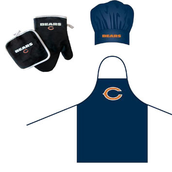 Chicago Bears NFL Barbeque Apron, Chef's Hat and Pot Holder Deluxe Set
