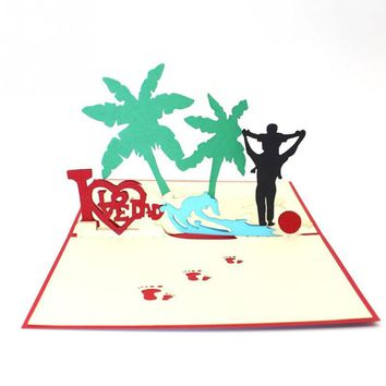 Handmade 3D Laser Cut Pop Up Greeting Cards Fathers Day and Thanksgiving day Souvenirs Postcards