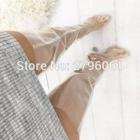 Chunky Heels PVC transparent Clear heels Woman Thigh High Boots Crystal Heels Sexy Wom