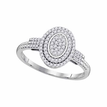 10kt White Gold Womens Round Diamond Oval Cluster Bridal Wedding Engagement Ring 1/4 Cttw