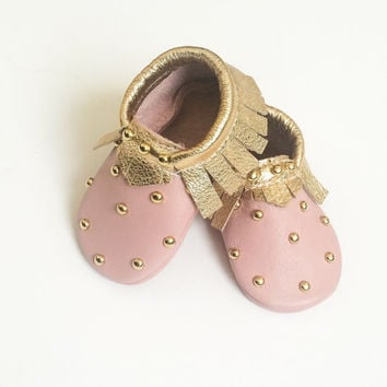 Toddler / Baby Moccasins - Pink & Gold Studded Baby Moccasins, Toddler Moccs, Leather Baby Moccasins