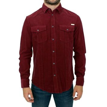 GF Ferre Red Button Front Cotton Casual Shirt