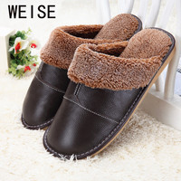 Plus Size 35-44 Genuine Leather Warm  Winter Home Slippers Non-Slip Thick Warm House Shoes Cotton Women Men Slippers 5 Colors