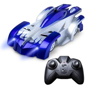 Remote Control Wall Climbing RC Car with LED Lights 360 Degree Rotating Stunt Toys Antigravity Machine Wall Racer