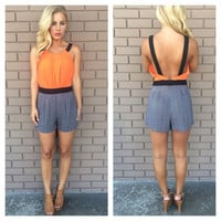 Congo Romper With Pockets - NEON ORANGE