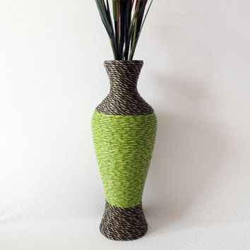 Handmade PC Plastic Rattan Woven Flower Vase Large Floor Vase Vintage Ornament for Home Office House Decoration Supplies