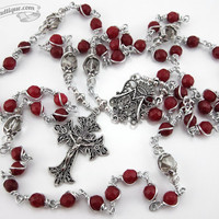 Red Garnet Unbreakable Rosary first communion gift garnet rosary catholic gift confirmation rosary catholic rosaries red rosary ladies