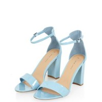 Light Blue Patent Block Heel Ankle Strap Heels