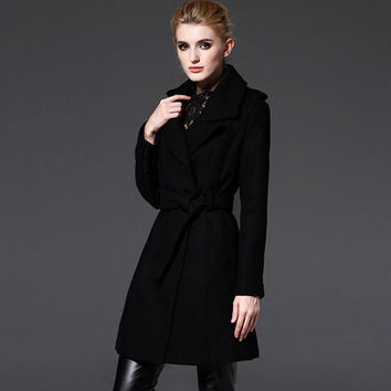 Women's Black Wool Coat -  woman coat- Custom wool coat-  winter coat--winter wool coat-warm coat-pastel coat-minimalist coat