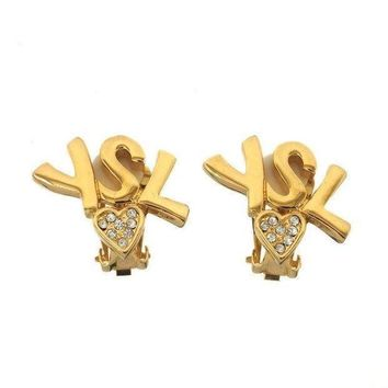 Saint Laurent Heart Logo Earrings
