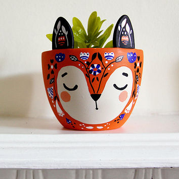 Fox Plant Pot - Fox Planter - Small Ceramic Planter - Modern Planter - Orange Fox Plant Pot