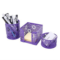 Crystallove Metal Mesh Office Supplies Desktop Organizer Set of 3pcs-Pencil Cup, Memo Holder and Clip Holder (Purple-Style 2)