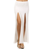 New Double Slit Front Maxi Skirt Fashion Apparel White Cream Pretty Trend S M L