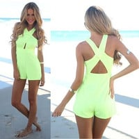 Neon Cross Back Halter Playsuit