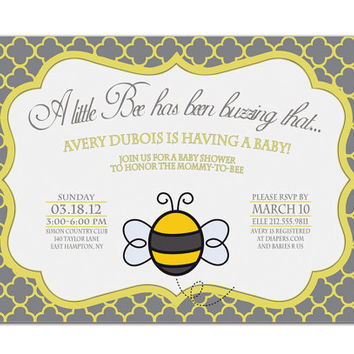 Baby Shower Invitation Little Bee Quatrefoil Gray Yellow Bridal Showr Invitation DIY Digtial or Printed - Avery Bee Collection