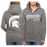 Michigan State Spartans Women's Marled Full Zip Hoodie – Gray