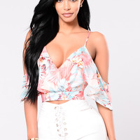 Better Days Floral Top - Pink/Aqua