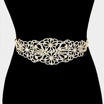 Wide Rhinestone Flower Sash Ribbon Bridal Wedding Belt / Headband