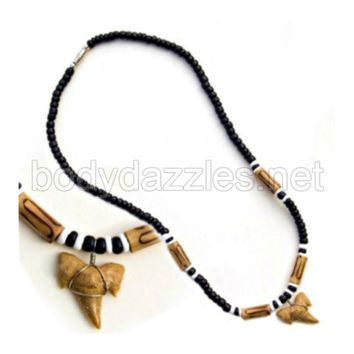 Real Shark Tooth Drop Pendant and Brown and Black Beads On Cord 18 in. Make a Great Gift