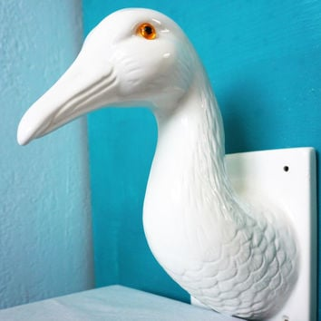Vintage Wall Mounted Ceramic Goose Head-Kitschy Art-Bird A-HiMark Giftware-Taxidermy-Fowl-Country Folk-