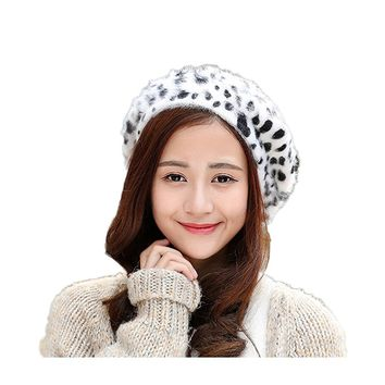 WeeH Beret Hat for Women Gril Winter Hats Cute Cat Wool Beanie Cap Gray Dot Cow