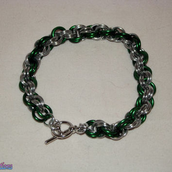 Petite yet Chunky Double Spiral Bracelet - Silver & Green