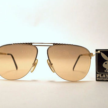 d0453a0478d1 Vintage 80s Playboy Brand Sunglasses. Aviator Style. Gold Tone Frames.