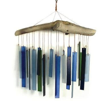 Blue Handworks Seaglass & Driftwood Chime...