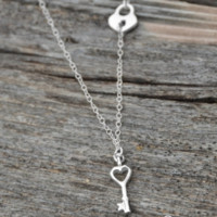 Sterling Silver Lock and Key Charm Necklace