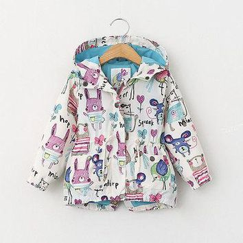 Children Boys Girls Long Sleeve Animals Hand Print Jacket Coat Hooded Outerwear