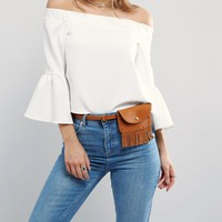 Pieces Fringed Bumbag Belt at asos.com