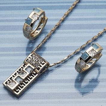 Gold Layered Women Greek Key Earring and Pendant Adult Set, with Aqua Blue Cubic Zirconia, by Folks Jewelry