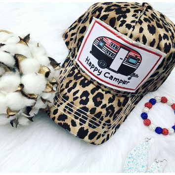 Leopard Happy Camper Hat