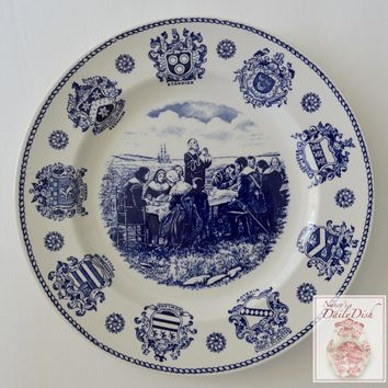 Blue and White Historical Staffordshire Transferware Plate Pilgrim Fathers and The First Thanksgiving