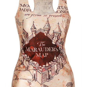 MOKAWANew Arrival Women's The Marauder's Map Print Fashion O-Neck Regular Length Harry Potter Theme Tank Tops T Shirt for Summer