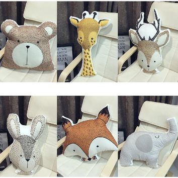 Cartoon Animals Fox Rabbit Bear Giraffe Deer Elephant Cushion Baby Calm Sleep Pillow Nordic Kids Room Decoration Toy Photo Props