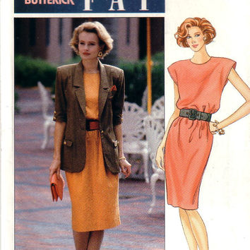 Vintage Butterick 4701 Designer Leslie Fay Dress and Jacket Size 14-18